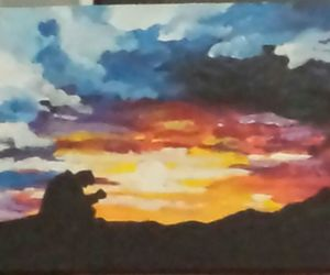 outdoors, silhouette, and painting image