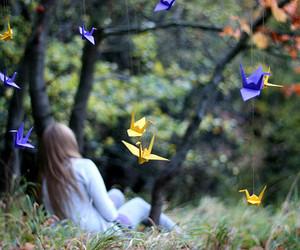 birdies, girl, and origami image