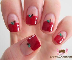 nails, apple, and nail art image