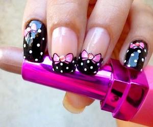bow, nail art, and pink image