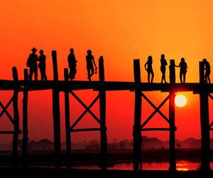 beach, sunset, and bridge image