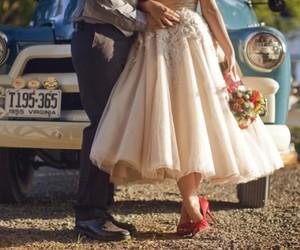 wedding, couple, and car image