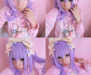 kawaii, purple hair, and cute image