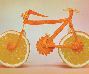 orange, bike, and fruit image