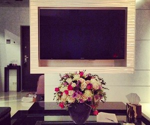 flowers, room, and tv image
