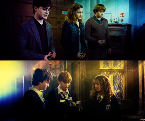 Daniel Radcliff, harry potter, and hermione granger image