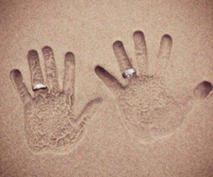 love, rings, and sand image