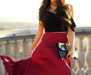 black, maxi, and skirt image