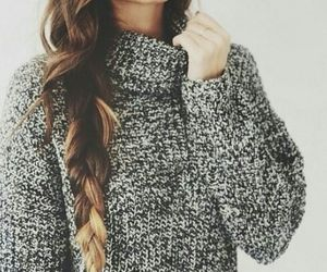 hair, fashion, and sweater image