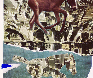 Collage, horse, and mixed media image