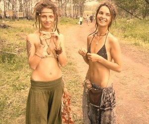 girls, happy, and nature image