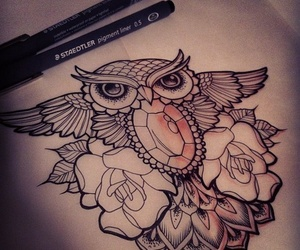 owl, tattoo, and rose image