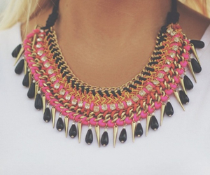 necklace, pink, and fashion image