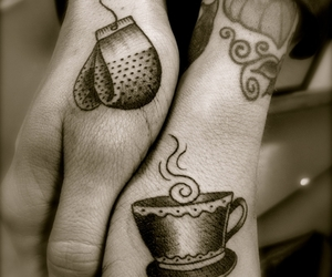 tattoo, tea, and cup image