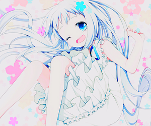 anime girl, flower, and cute image