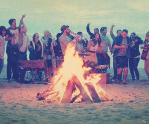 beach, bonfire, and fire image