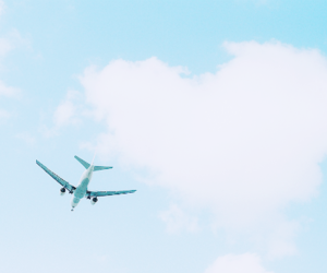 sky, blue, and airplane image