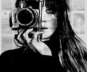 black and white, drawing, and camera image