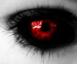 red, eyes, and black image