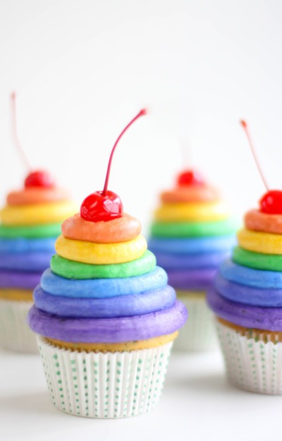 Inspired Rainbow Ombre Cupcakes Rainbow Cupcake For Kids Ombre