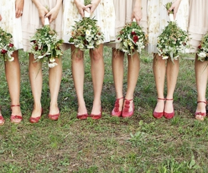 bridesmaids, flowers, and rustic image