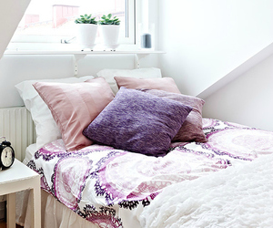 room, bed, and purple image