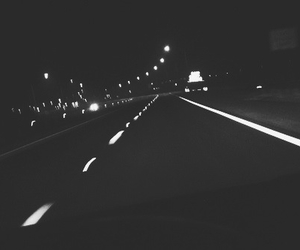 black and white, driving, and lights image