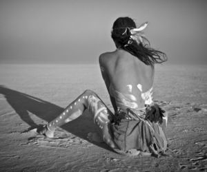 Burning Man, festival, and black and white image