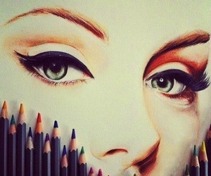 colored pencil, eye, and illustration image