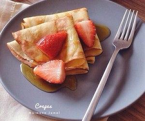 breakfast, pancakes, and strawberries image