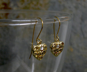 valentines day gift, gift for her, and gold heart earrings image