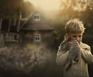 boy, rabbit, and house image