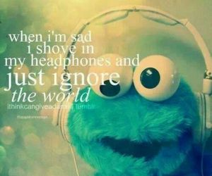 music, headphones, and cookie monster image