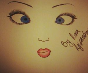 blue eyes, drawing, and cute image