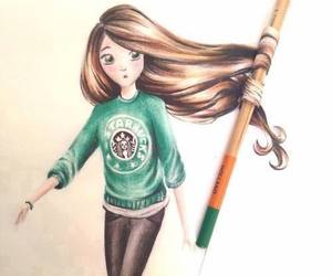 girl, starbucks, and drawing image