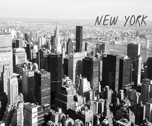 black and white, buildings, and new york image