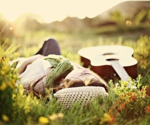 field, girl, and guitar image