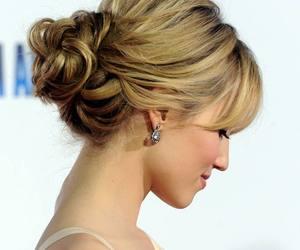 wedding, chignon, and hairdo image