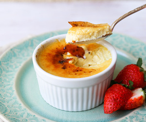 creme brulee, custard, and dessert image