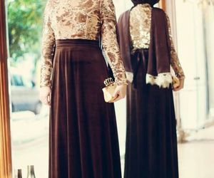 hijab, brown, and style image