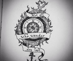 tattoo, compass, and anchor image