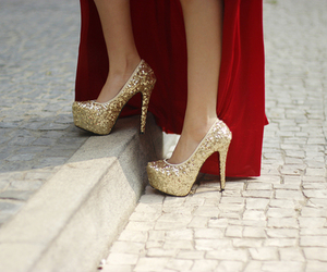 heels, fashion, and gold image