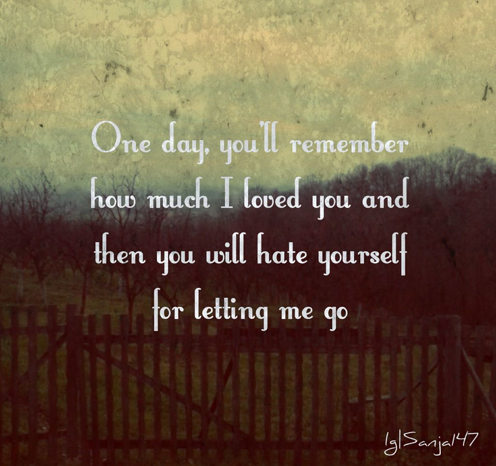 You Will Hate Yourself For Letting Me Go