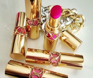 lipstick, pink, and gold image