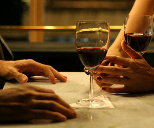 love, wine, and couple image