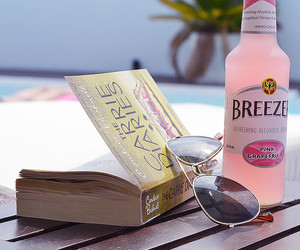 book, beach, and drink image