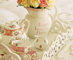 flowers, tea, and tray image