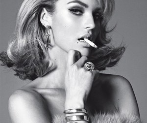 black and white, blonde, and cigarrete image