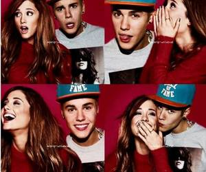 ariana grande, justin bieber, and love image