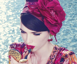 cherry, lipstick, and flowers image